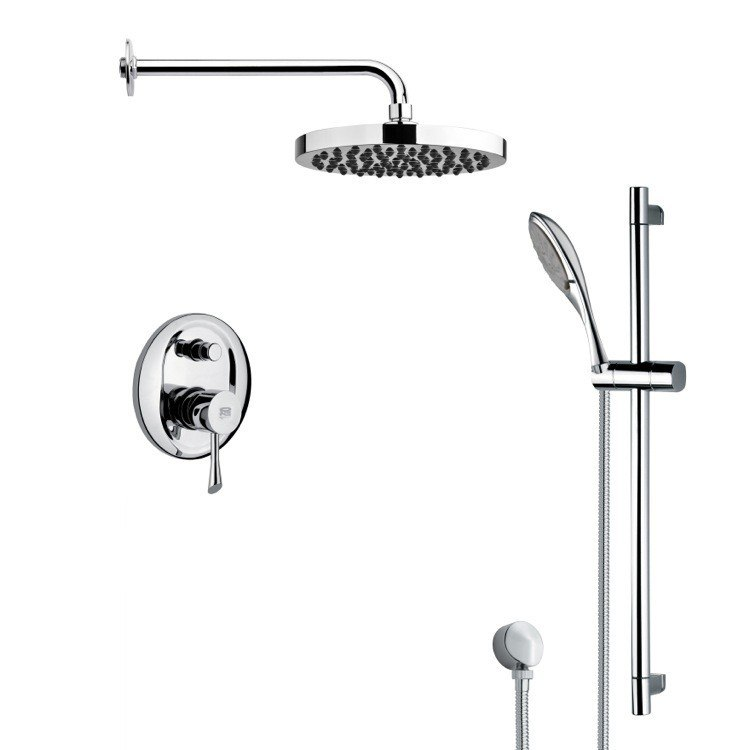 REMER SFR7143 RENDINO ROUND SLEEK RAIN SHOWER FAUCET WITH HAND SHOWER IN CHROME