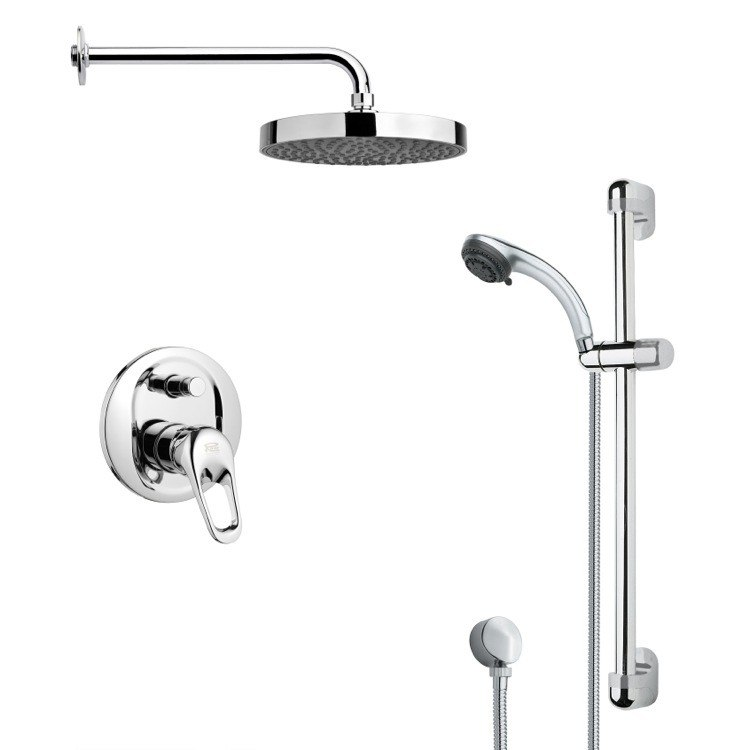 REMER SFR7145 RENDINO ROUND SLEEK RAIN SHOWER FAUCET WITH HAND SHOWER IN CHROME