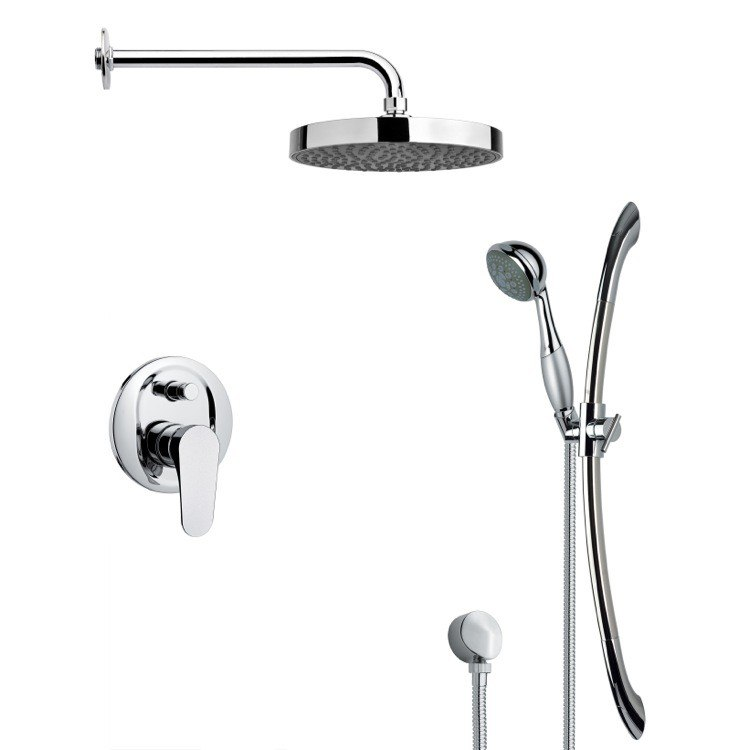 REMER SFR7147 RENDINO ROUND SLEEK RAIN SHOWER FAUCET WITH HAND SHOWER IN CHROME