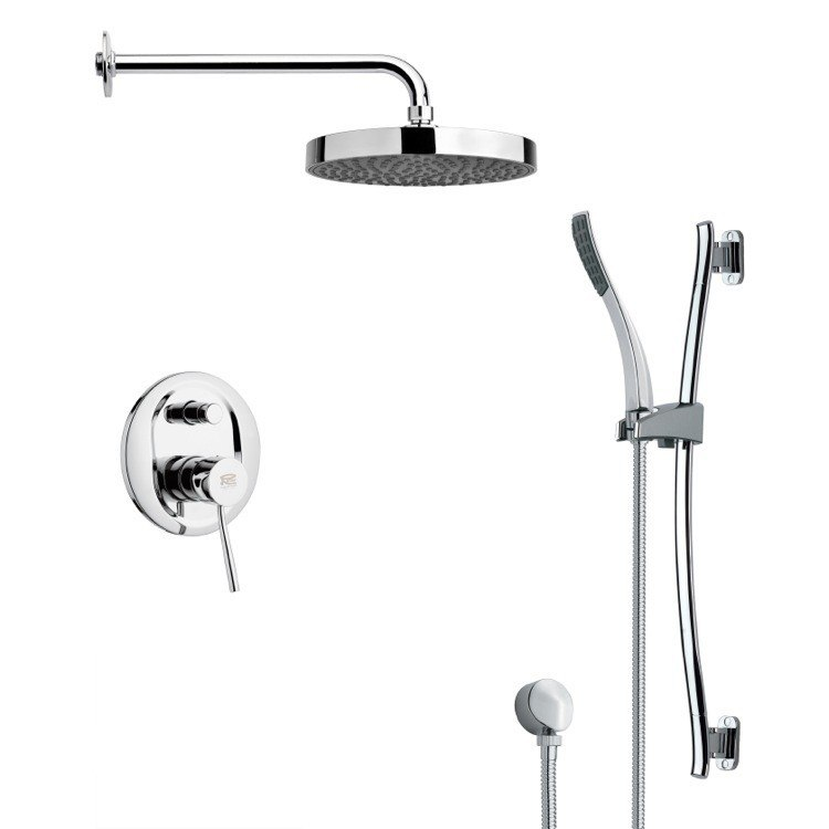 REMER SFR7148 RENDINO ROUND SLEEK RAIN SHOWER FAUCET WITH HAND SHOWER IN CHROME