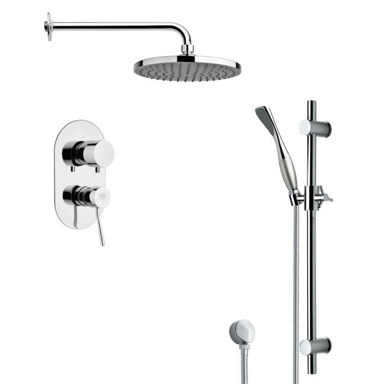 REMER SFR7149 RENDINO ROUND SLEEK RAIN SHOWER FAUCET WITH HAND SHOWER IN CHROME
