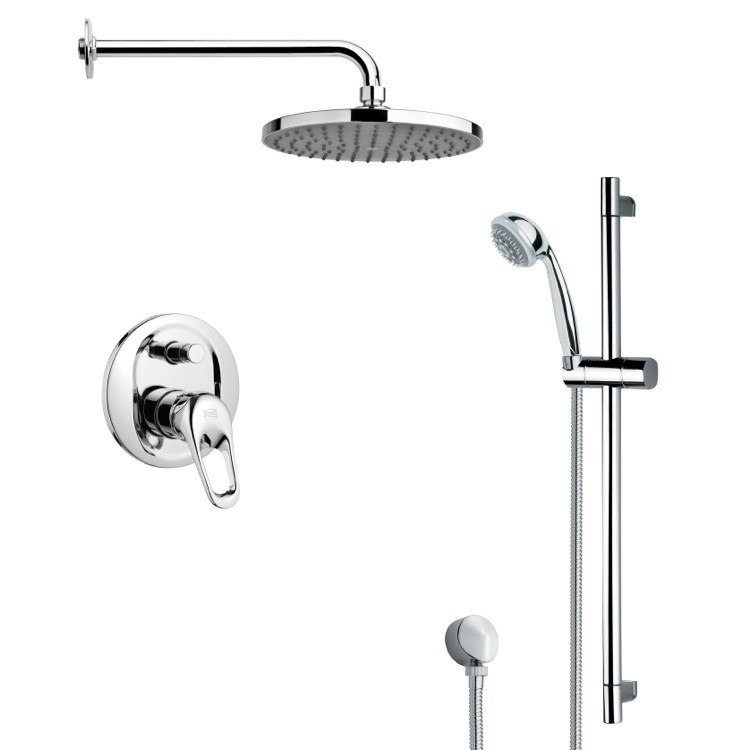 REMER SFR7150 RENDINO ROUND SLEEK RAIN SHOWER FAUCET WITH HAND SHOWER IN CHROME