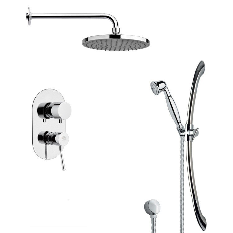 REMER SFR7152 RENDINO ROUND SLEEK RAIN SHOWER FAUCET WITH SLIDE RAIL IN CHROME
