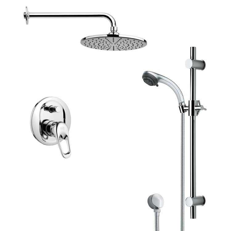 REMER SFR7156 RENDINO ROUND SLEEK RAIN SHOWER FAUCET WITH SLIDE RAIL IN CHROME