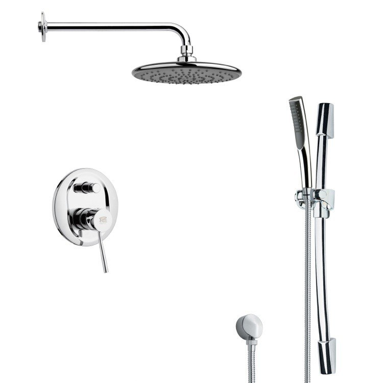 REMER SFR7158 RENDINO ROUND SLEEK RAIN SHOWER FAUCET WITH HANDHELD SHOWER IN CHROME