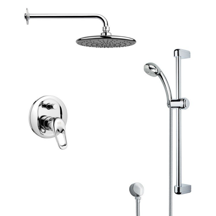 REMER SFR7159 RENDINO ROUND SLEEK RAIN SHOWER FAUCET WITH HANDHELD SHOWER IN CHROME