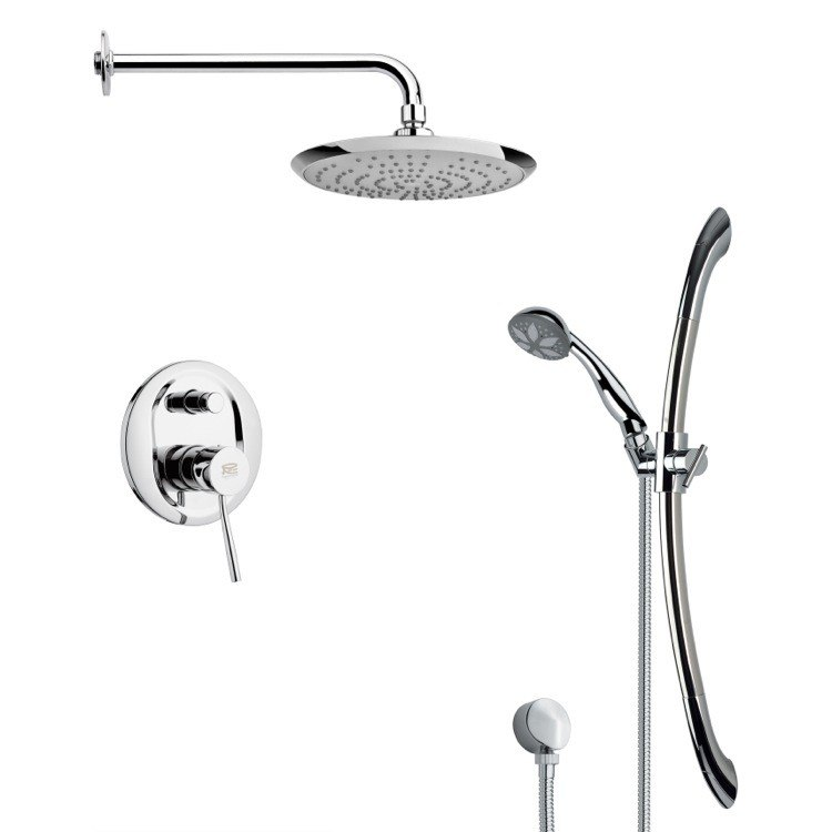 REMER SFR7164 RENDINO ROUND SLEEK CHROME SHOWER FAUCET SET
