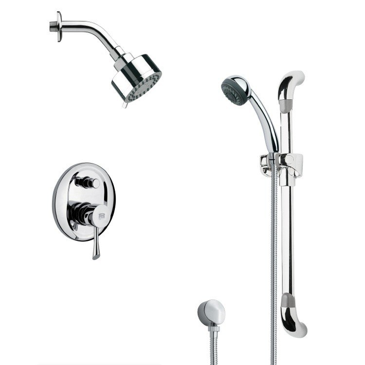 REMER SFR7172 RENDINO ROUND SLEEK CHROME SHOWER FAUCET WITH SLIDE RAIL