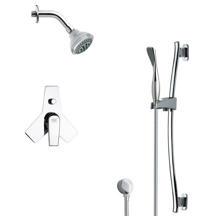 REMER SFR7173 RENDINO ROUND SLEEK CHROME SHOWER FAUCET WITH SLIDE RAIL