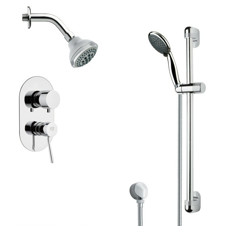 REMER SFR7174 RENDINO ROUND SLEEK CHROME SHOWER FAUCET WITH SLIDE RAIL