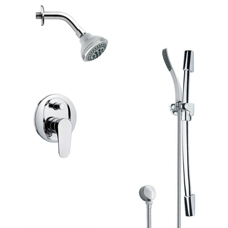 REMER SFR7176 RENDINO ROUND SLEEK CHROME SHOWER FAUCET WITH SLIDE RAIL