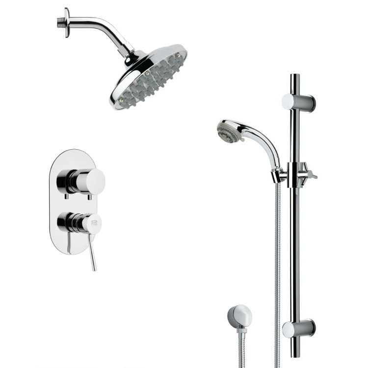 REMER SFR7178 RENDINO SLEEK CHROME RAIN SHOWER FAUCET SET