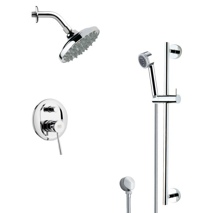 REMER SFR7179 RENDINO SLEEK CHROME RAIN SHOWER FAUCET SET