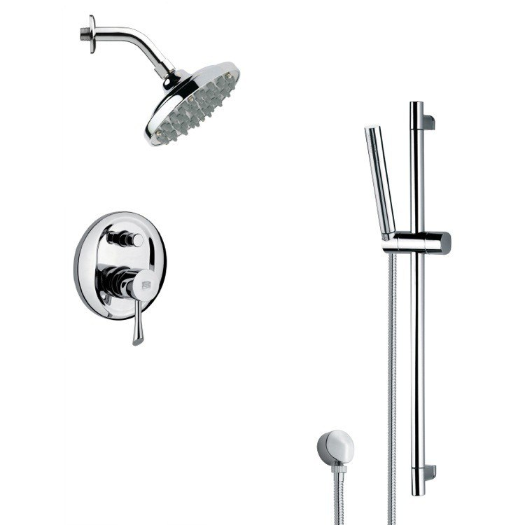 REMER SFR7180 RENDINO SLEEK CHROME RAIN SHOWER FAUCET SET