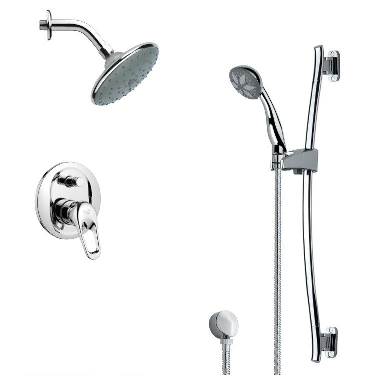 REMER SFR7190 RENDINO SLEEK CHROME RAIN SHOWER FAUCET WITH HAND SHOWER