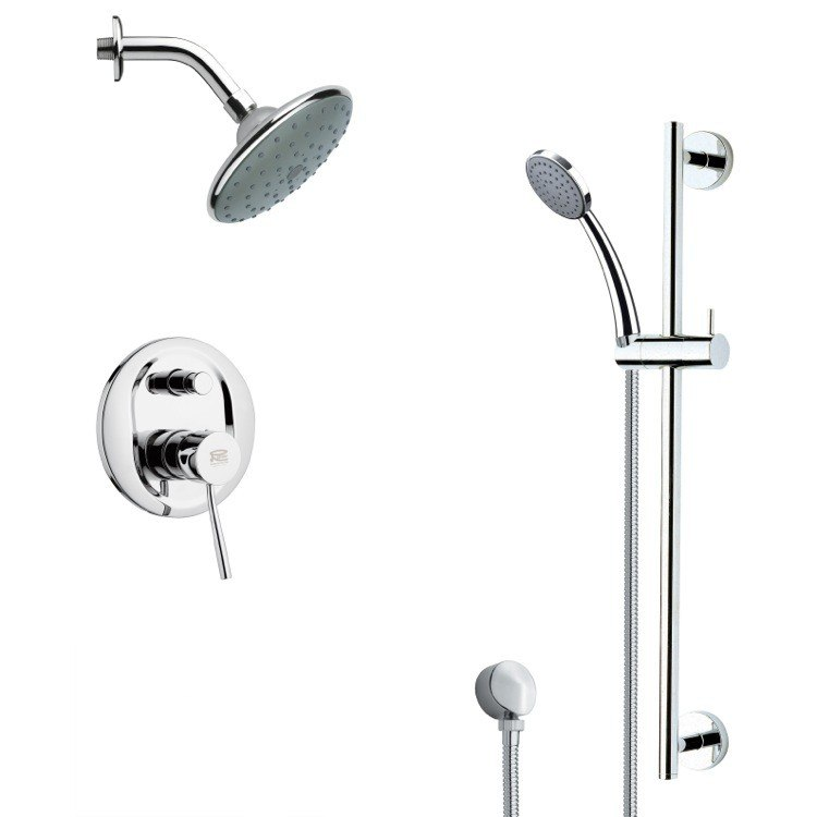 REMER SFR7191 RENDINO SLEEK CHROME RAIN SHOWER FAUCET WITH HAND SHOWER