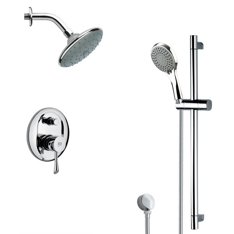 REMER SFR7192 RENDINO SLEEK CHROME RAIN SHOWER FAUCET WITH HAND SHOWER