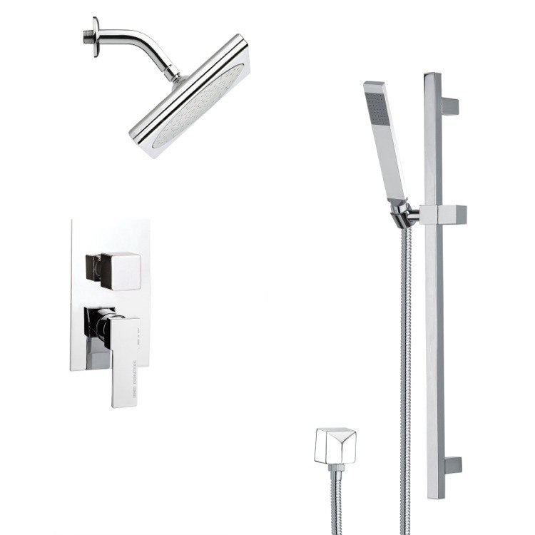 REMER SFR7193 RENDINO CHROME SQUARE SHOWER FAUCET SET