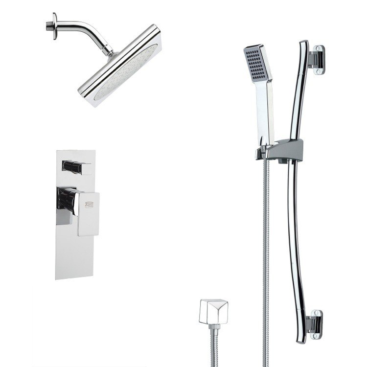 REMER SFR7194 RENDINO CHROME SQUARE SHOWER FAUCET SET