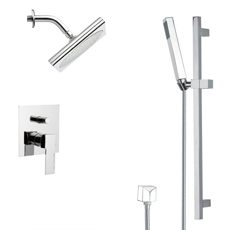 REMER SFR7195 RENDINO CHROME SQUARE SHOWER FAUCET SET