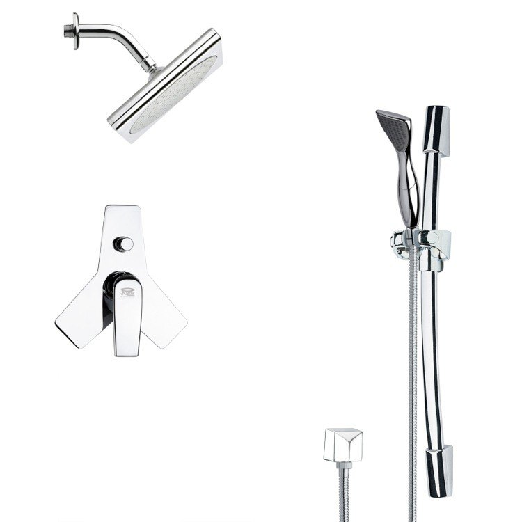 REMER SFR7196 RENDINO CHROME SQUARE SHOWER FAUCET SET