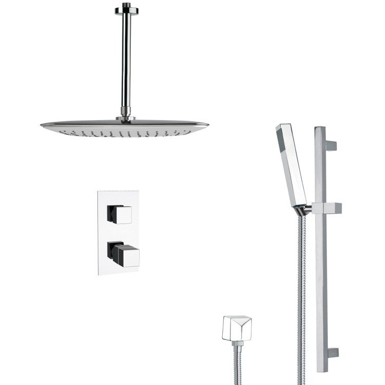 REMER SFR7400 RENDINO MODERN THERMOSTATIC CHROME SHOWER FAUCET WITH SLIDE RAIL
