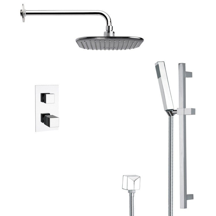 REMER SFR7404 RENDINO MODERN THERMOSTATIC CHROME SHOWER FAUCET WITH SLIDE RAIL