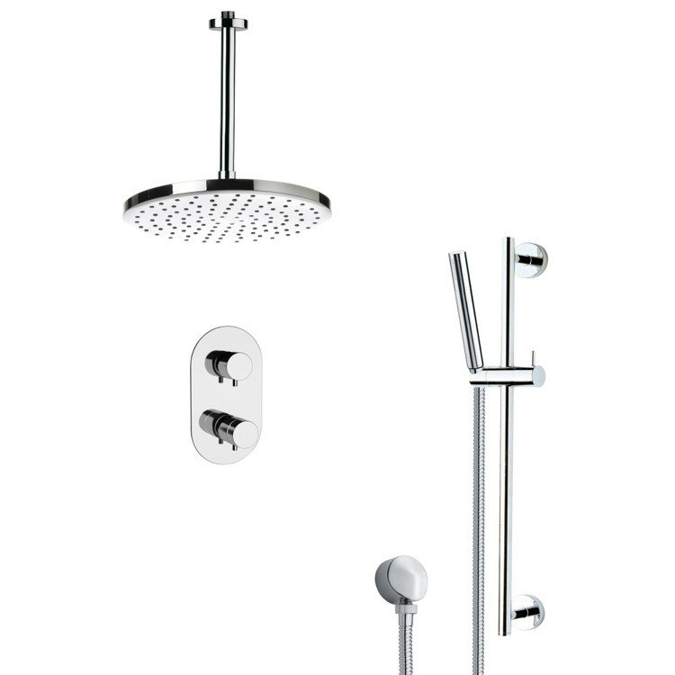 REMER SFR7405 RENDINO THERMOSTATIC MODERN CHROME SHOWER FAUCET WITH SLIDE RAIL