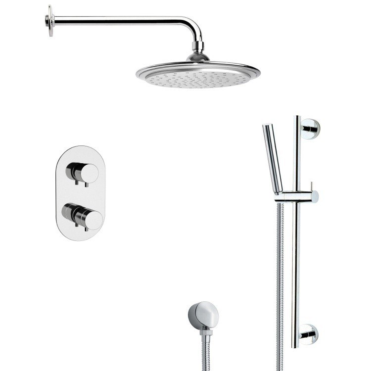 REMER SFR7407 RENDINO THERMOSTATIC MODERN CHROME SHOWER FAUCET WITH SLIDE RAIL