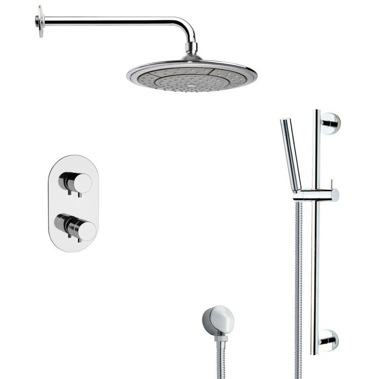REMER SFR7408 RENDINO THERMOSTATIC MODERN CHROME SHOWER FAUCET WITH SLIDE RAIL