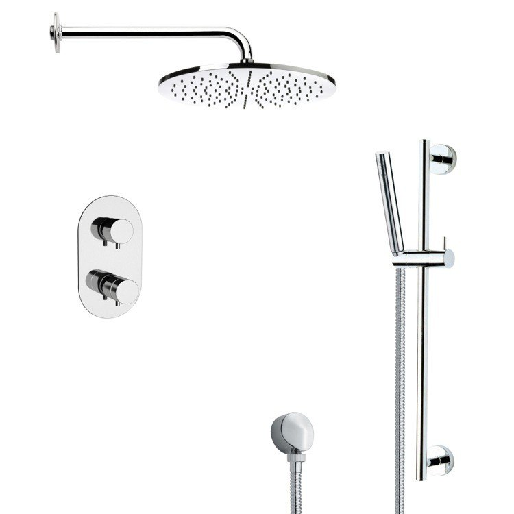 REMER SFR7409 RENDINO THERMOSTATIC MODERN CHROME SHOWER FAUCET WITH SLIDE RAIL