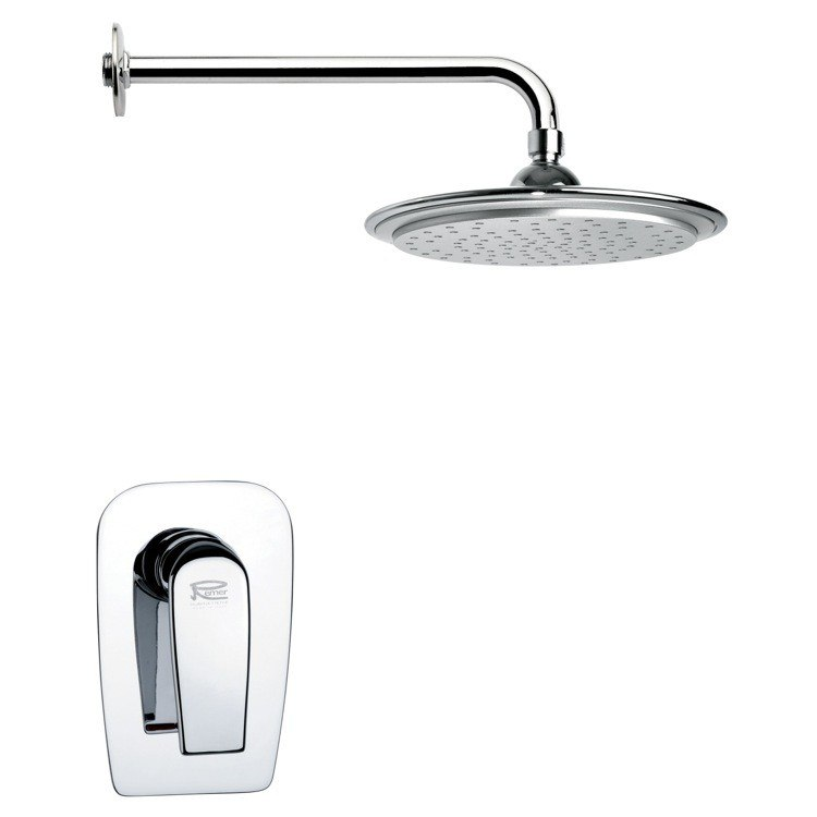 REMER SS1005 MARIO ROUND MODERN RAIN SHOWER FAUCET SET IN CHROME
