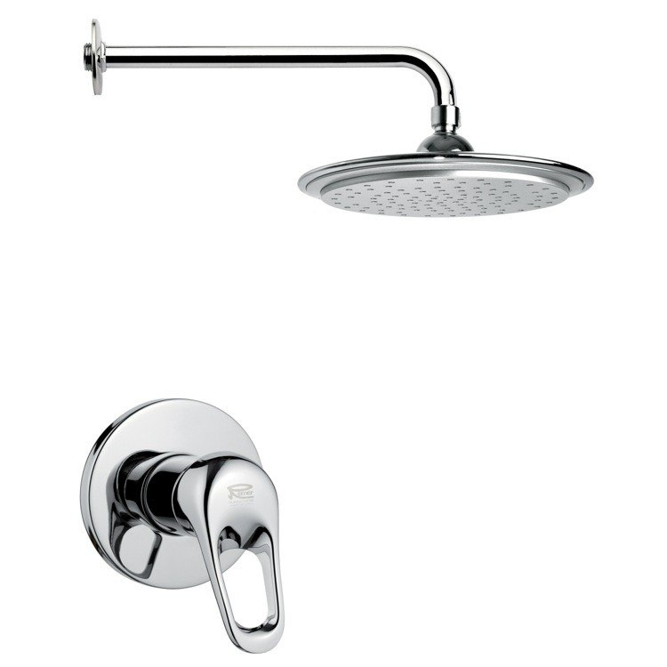 REMER SS1006 MARIO ROUND MODERN SHOWER FAUCET SET IN CHROME
