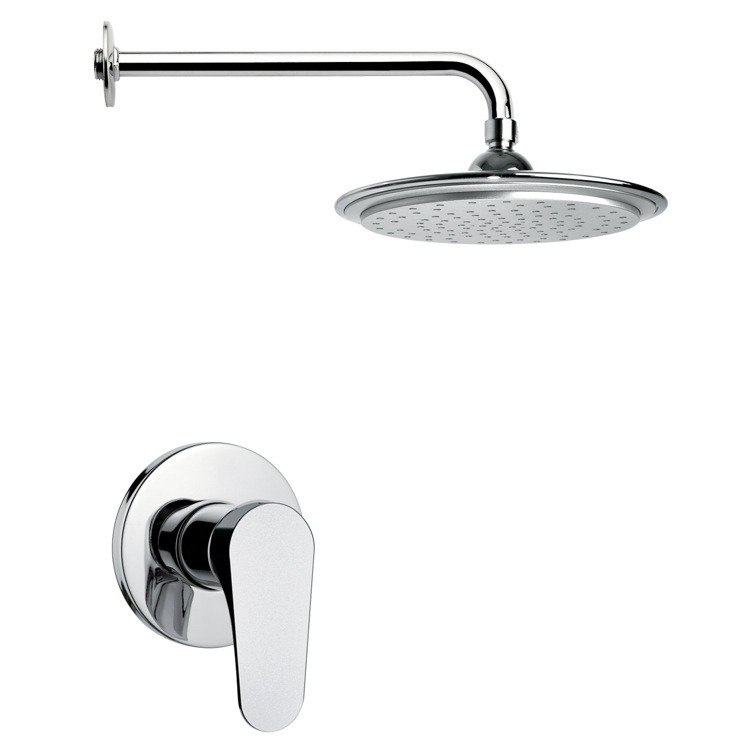 REMER SS1007 MARIO ROUND MODERN RAIN SHOWER FAUCET SET IN CHROME