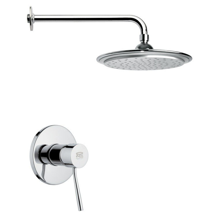 REMER SS1008 MARIO CHROME SHOWER FAUCET SET WITH 9 INCH RAIN SHOWER HEAD