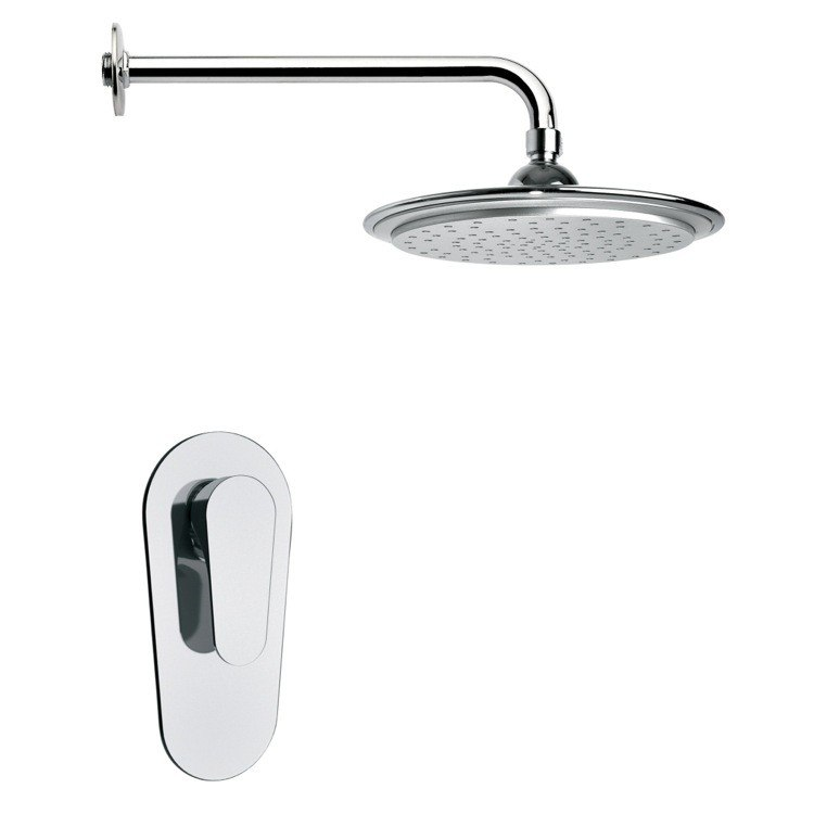 REMER SS1009 MARIO ROUND MODERN RAIN SHOWER FAUCET SET IN CHROME