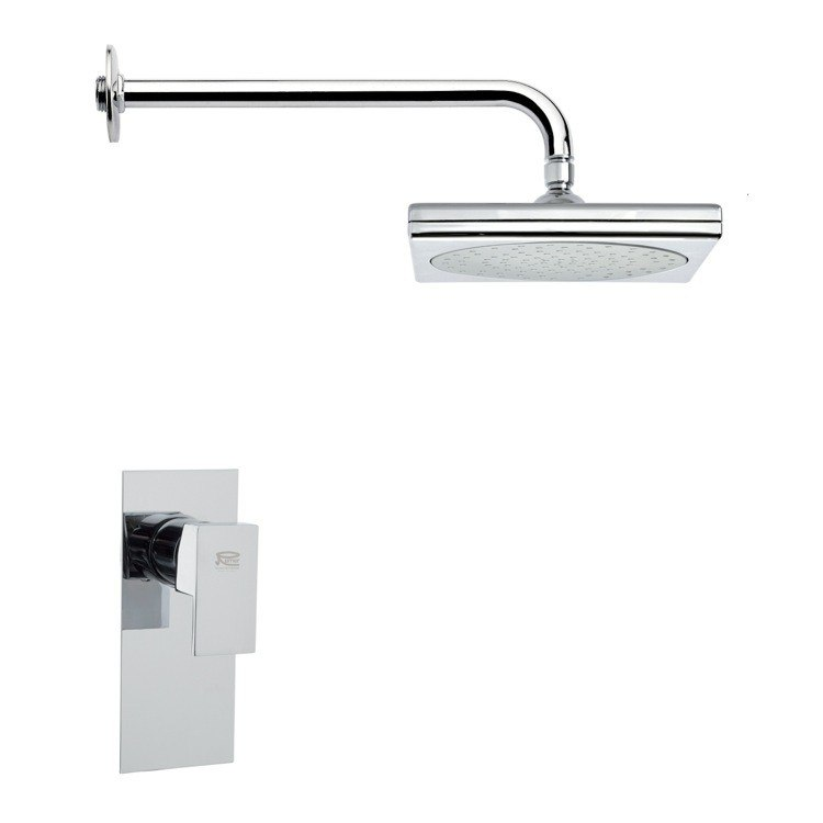 REMER SS1016 MARIO SQUARE CONTEMPORARY CHROME SHOWER FAUCET SET