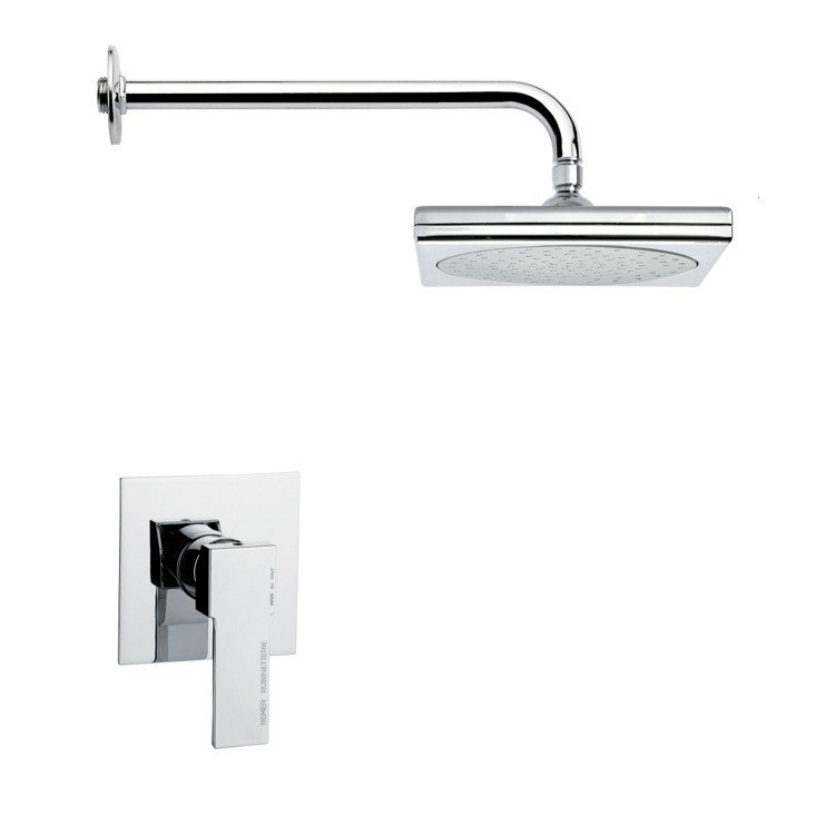 REMER SS1017 MARIO SQUARE CONTEMPORARY CHROME SHOWER FAUCET SET