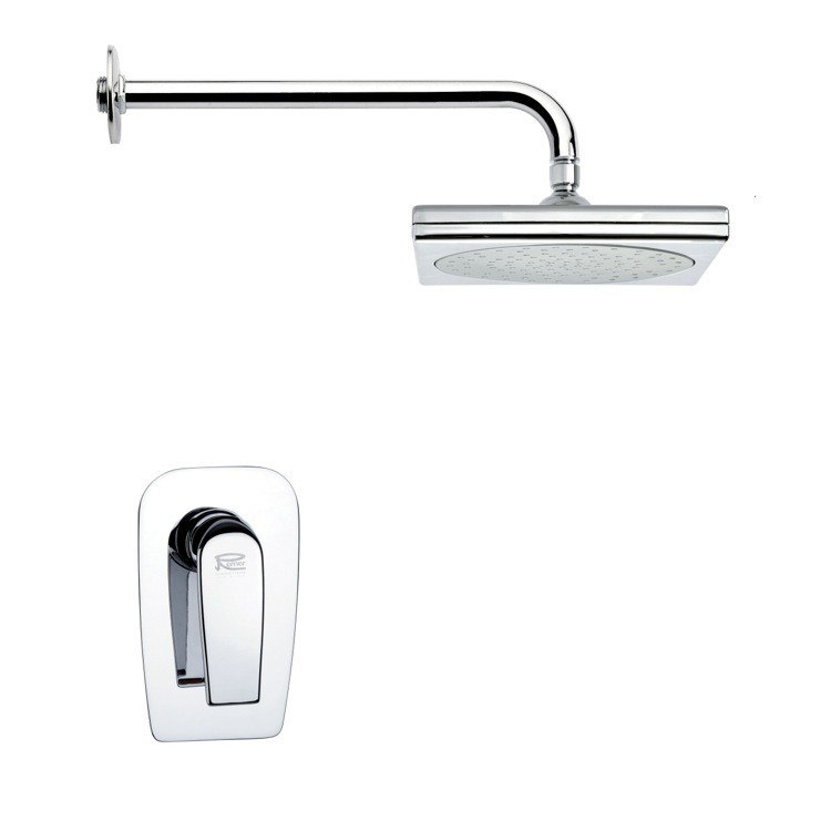 REMER SS1018 MARIO SQUARE CONTEMPORARY CHROME SHOWER FAUCET SET