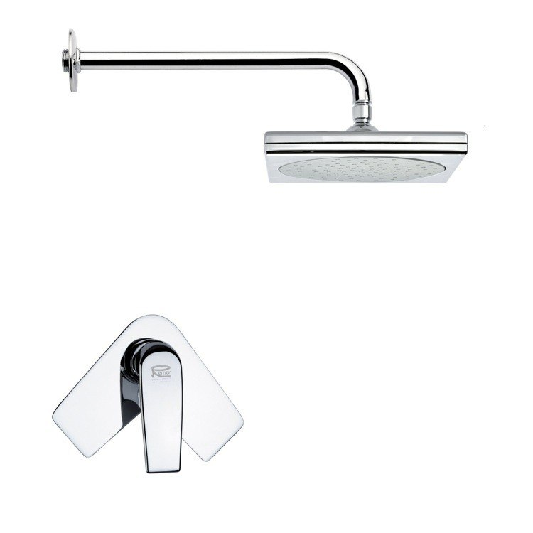 REMER SS1019 MARIO SQUARE CONTEMPORARY CHROME SHOWER FAUCET SET