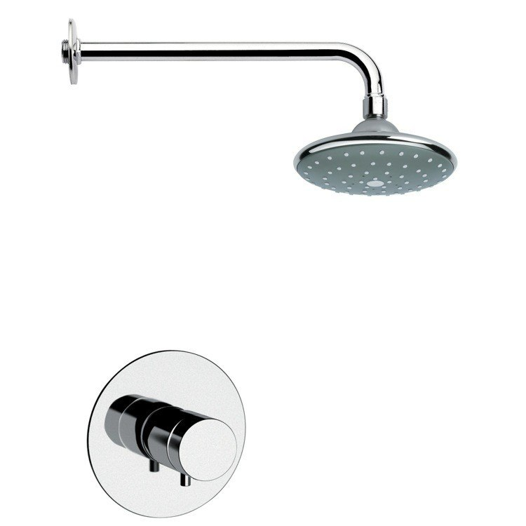REMER SS1044 MARIO CHROME AND MODERN SHOWER FAUCET SET WITH KNOB
