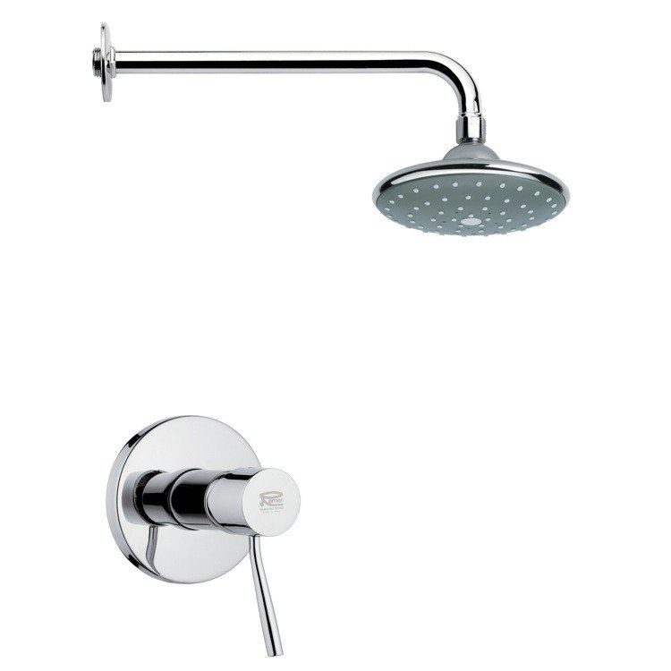 REMER SS1045 MARIO ROUND CONTEMPORARY SHOWER FAUCET SET IN CHROME