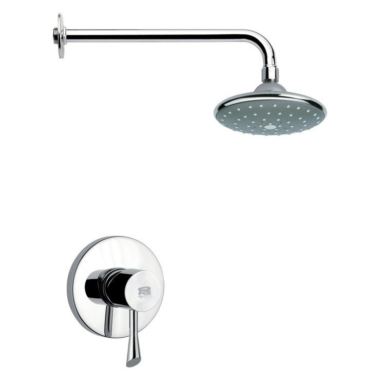 REMER SS1046 MARIO ROUND CONTEMPORARY SHOWER FAUCET SET IN CHROME