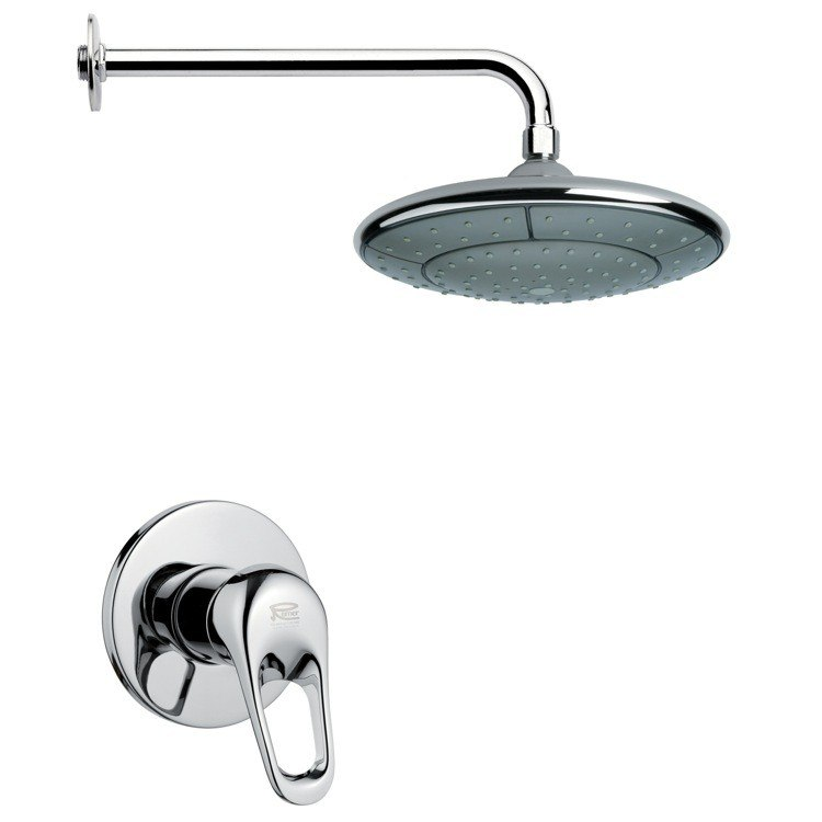 REMER SS1048 MARIO ROUND CONTEMPORARY SHOWER FAUCET SET IN CHROME