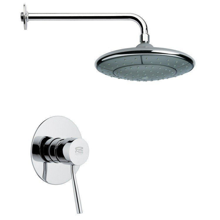 REMER SS1049 MARIO ROUND CONTEMPORARY SHOWER FAUCET SET IN CHROME