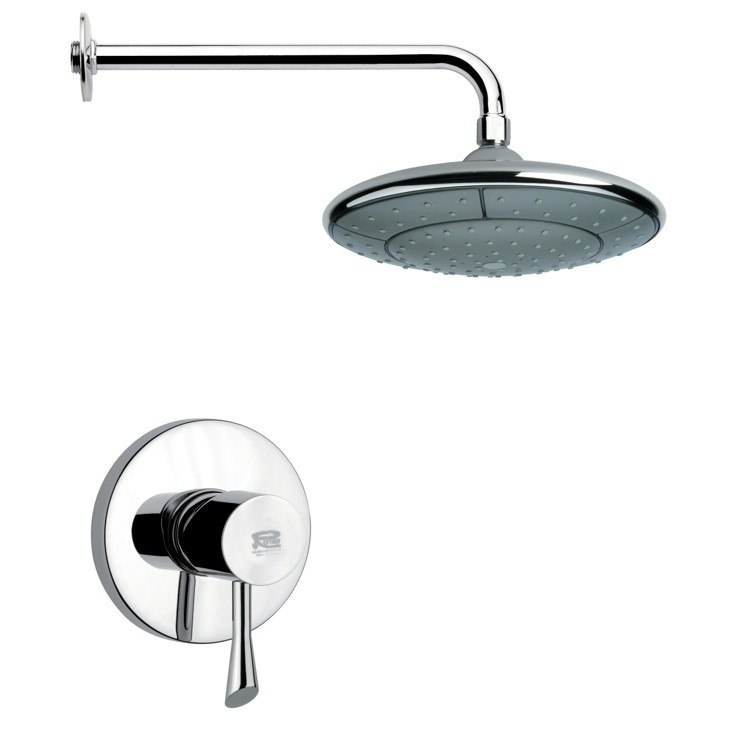 REMER SS1051 MARIO ROUND CONTEMPORARY SHOWER FAUCET SET IN CHROME