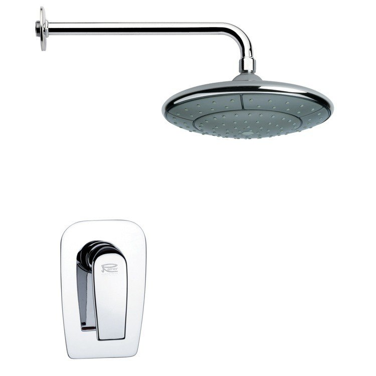 REMER SS1052 MARIO ROUND CONTEMPORARY SHOWER FAUCET SET IN CHROME