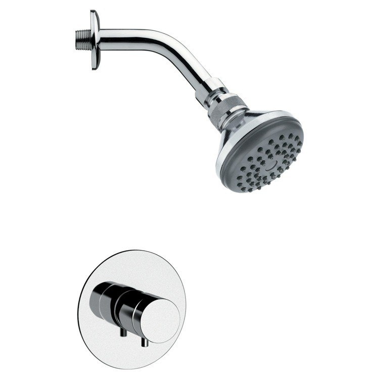 REMER SS1054 MARIO ROUND CONTEMPORARY SHOWER FAUCET SET IN CHROME