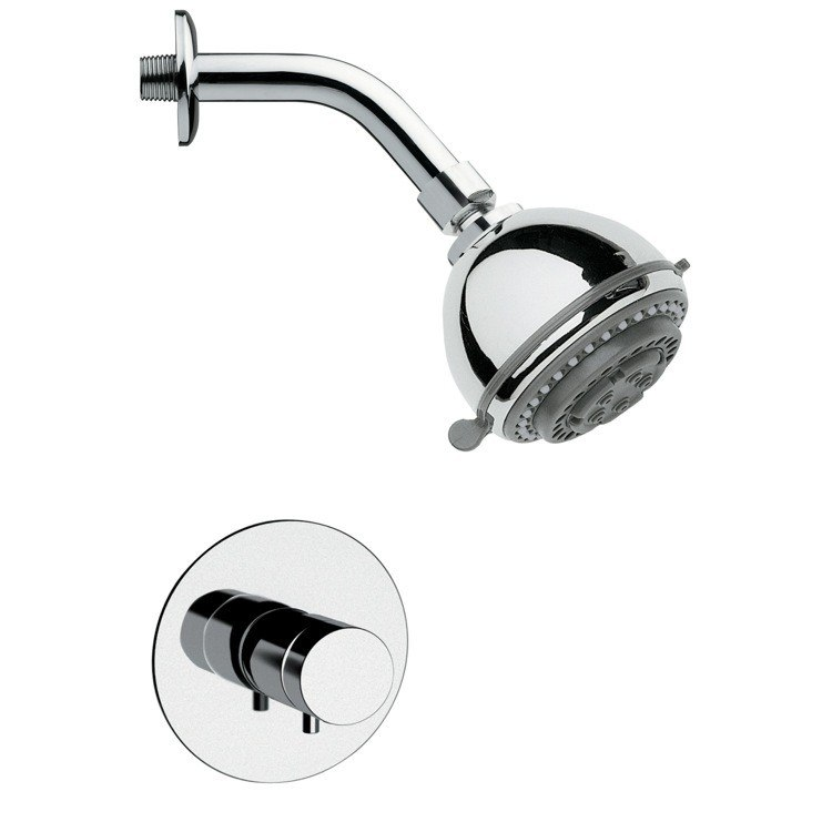 REMER SS1088 MARIO ROUND SHOWER FAUCET SET IN POLISHED CHROME WITH KNOB