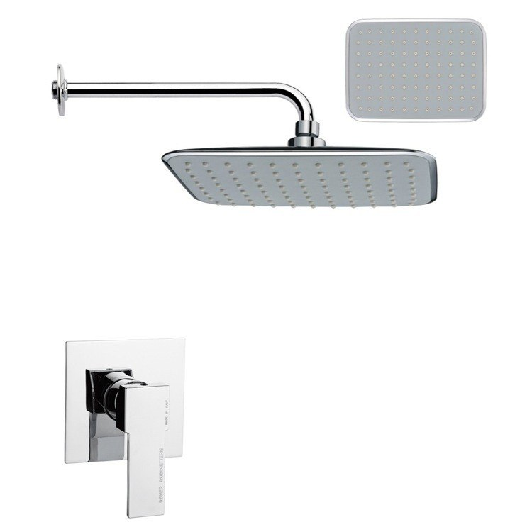 REMER SS1157 MARIO RECTANGULAR CONTEMPORARY SHOWER FAUCET SET IN CHROME
